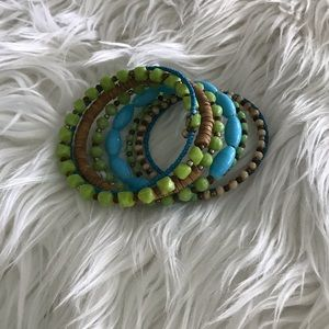 Jewelry - Blue and Green Beaded Bracelet